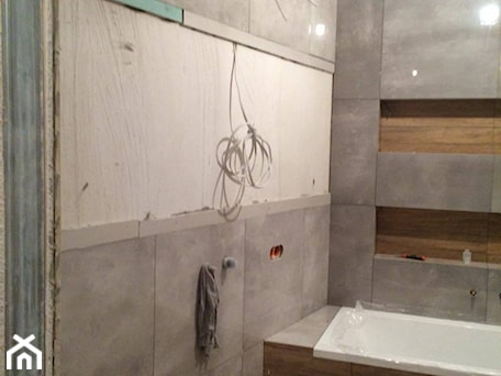 Aranżacje wnętrz - Łazienka: Realizacja projektu - łazienka beton z drewnem - Anna Jędrzejuk. Przeglądaj, dodawaj i zapisuj najlepsze zdjęcia, pomysły i inspiracje designerskie. W bazie mamy już prawie milion fotografii!