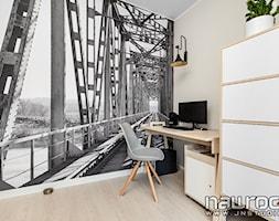 Apartament Wrocław - Małe beżowe biuro kącik do pracy, styl skandynawski - zdjęcie od JN STUDIO JOANNA NAWROCKA