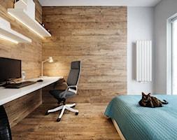 Mieszkanie kolorowe - Średnia szara brązowa sypialnia małżeńska, styl skandynawski - zdjęcie od JN STUDIO JOANNA NAWROCKA