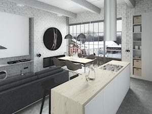LOFT w Gliwicach - Mały biały salon z kuchnią z jadalnią, styl industrialny - zdjęcie od POZÓR