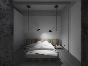 LOFT w Gliwicach - Mała biała sypialnia małżeńska, styl industrialny - zdjęcie od POZÓR