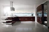 brązowe meble kuchenne, nowoczesna kuchnia otwarta na salon