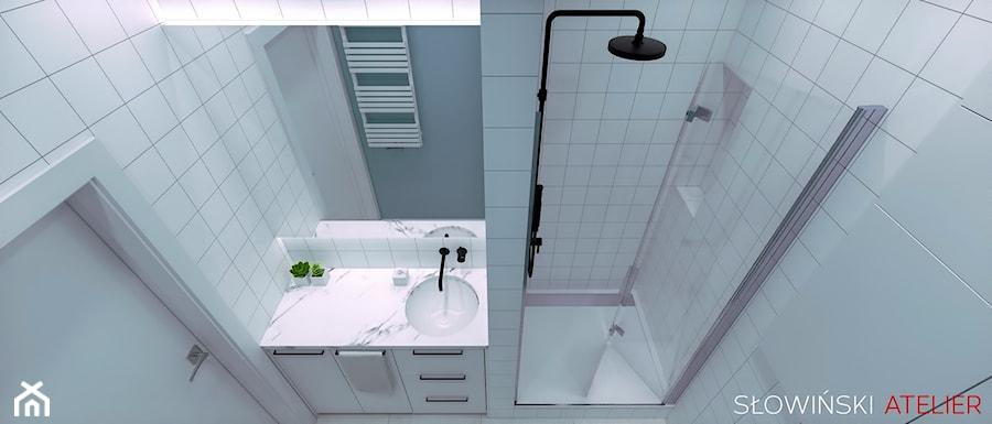 Mieszkanie inspirowane BAUHAUS'em - Mała szara łazienka w bloku w domu jednorodzinnym bez okna, styl minimalistyczny - zdjęcie od Atelier Słowiński