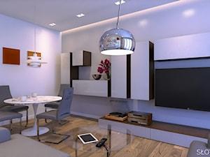 Mieszkanie inspirowane BAUHAUS'em - Średni szary salon z jadalnią, styl minimalistyczny - zdjęcie od Atelier Słowiński