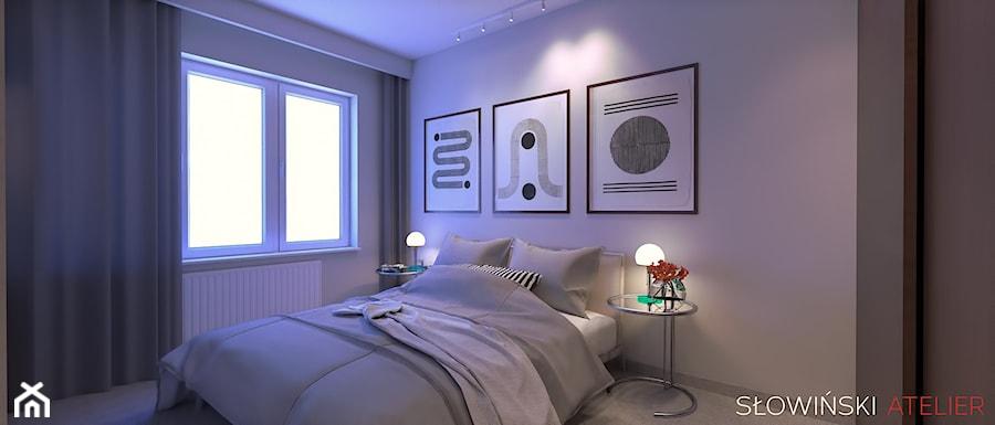 Mieszkanie inspirowane BAUHAUS'em - Mała biała sypialnia małżeńska, styl minimalistyczny - zdjęcie od Atelier Słowiński