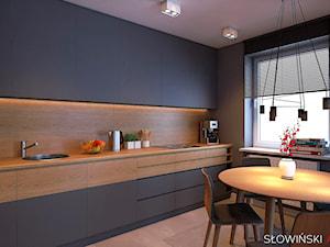 Mieszkanie dla pary w Łodzi - Średnia szara kuchnia jednorzędowa w aneksie z oknem, styl nowoczesny - zdjęcie od Atelier Słowiński