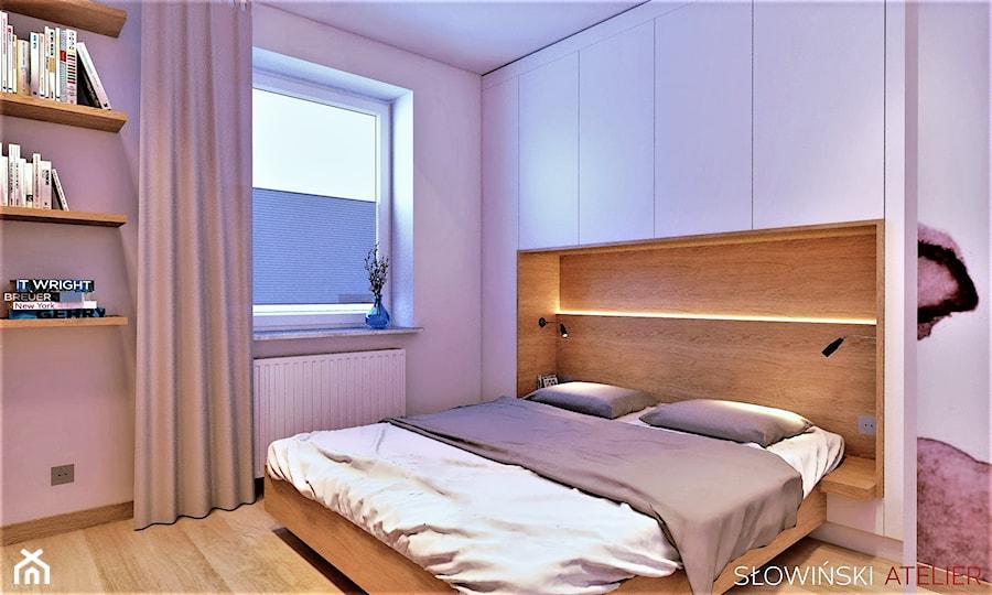 Mieszkanie dla pary w Łodzi - Średnia beżowa biała sypialnia małżeńska, styl nowoczesny - zdjęcie od Atelier Słowiński