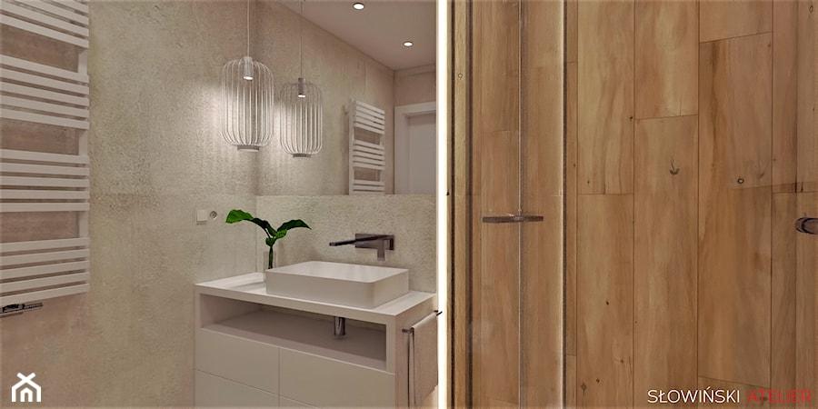 Mieszkanie dla pary w Łodzi - Mała łazienka w bloku w domu jednorodzinnym bez okna, styl nowoczesny - zdjęcie od Atelier Słowiński
