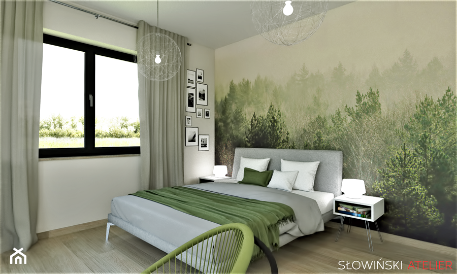 Sypialnia Z Widokiem Na Las Srednia Bezowa Kolorowa Sypialnia