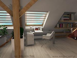 Herbowa - Średnie szare biuro domowe kącik do pracy na poddaszu w pokoju - zdjęcie od Dembczyńska Wnętrza & Ogrody