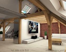 Herbowa - Duży biały brązowy salon z kuchnią - zdjęcie od Dembczyńska Wnętrza & Ogrody