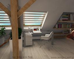 Herbowa - Duże szare biuro domowe kącik do pracy na poddaszu w pokoju - zdjęcie od Dembczyńska Wnętrza & Ogrody