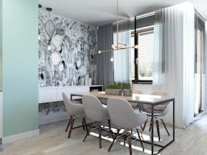 63 m2 - Średnia otwarta miętowa jadalnia w salonie, styl nowoczesny - zdjęcie od ADV Design