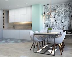 63 m2 - Średnia otwarta miętowa jadalnia w kuchni, styl nowoczesny - zdjęcie od ADV Design