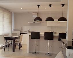 projekt 11 - Średnia otwarta szara kuchnia dwurzędowa z wyspą, styl nowoczesny - zdjęcie od Project Art Joanna Lipowska