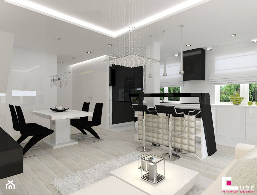Dom w Markach - Średnia otwarta biała kuchnia w kształcie litery l w aneksie z wyspą z oknem, styl nowoczesny - zdjęcie od CUBE Interior Design