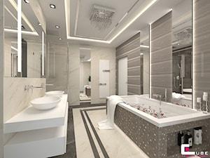 DOM Z ANTRESOLĄ - Średnia łazienka w bloku w domu jednorodzinnym bez okna, styl art deco - zdjęcie od CUBE Interior Design
