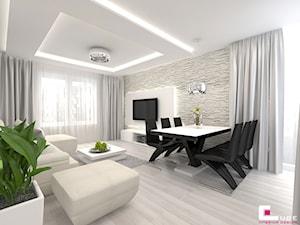 Projekt mieszkania w Siedlcach - Średni biały salon z jadalnią, styl nowoczesny - zdjęcie od CUBE Interior Design