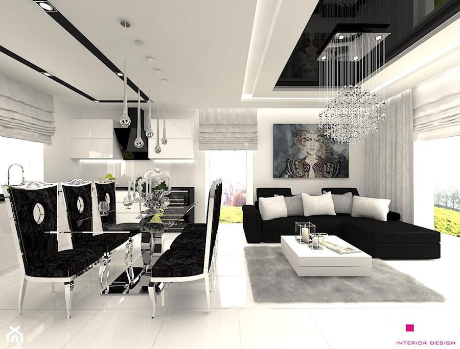 DOM POD LEGNICĄ - Średnia otwarta biała jadalnia w kuchni w salonie, styl glamour - zdjęcie od CUBE Interior Design