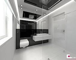 Dom w Markach - Średnia biała czarna łazienka na poddaszu w bloku w domu jednorodzinnym bez okna, styl nowoczesny - zdjęcie od CUBE Interior Design