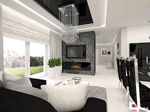 DOM POD LEGNICĄ - Średni biały salon z jadalnią, styl glamour - zdjęcie od CUBE Interior Design