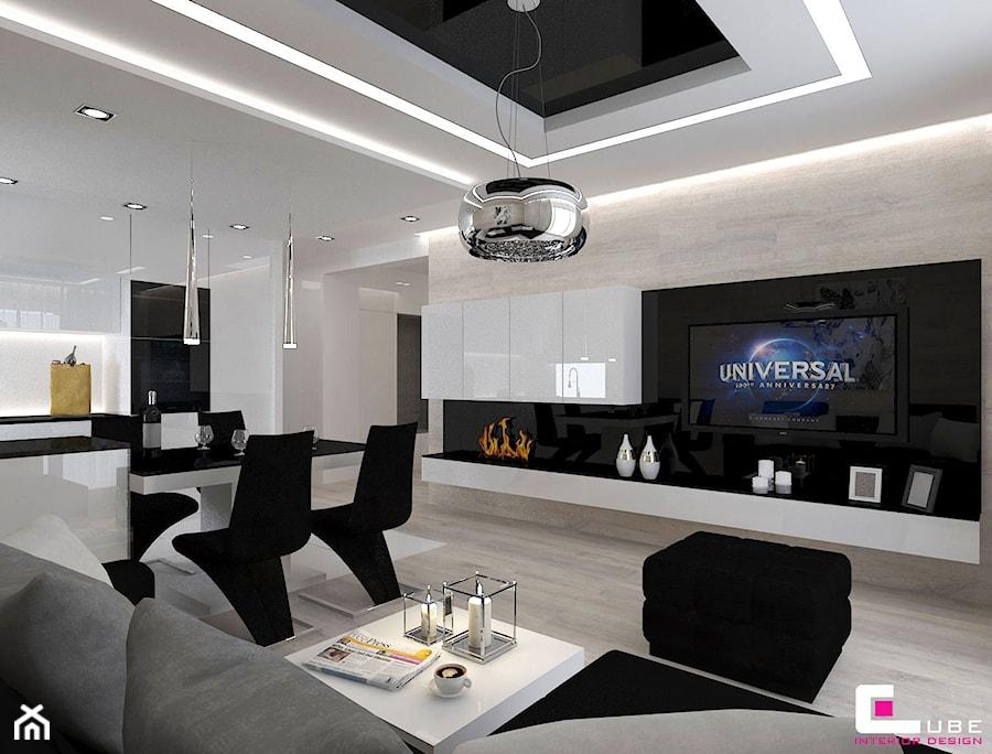 Aranżacje wnętrz - Salon: Mieszkanie 69 m2 w Siedlcach - Średni beżowy salon z kuchnią z jadalnią, styl nowoczesny - CUBE Interior Design. Przeglądaj, dodawaj i zapisuj najlepsze zdjęcia, pomysły i inspiracje designerskie. W bazie mamy już prawie milion fotografii!