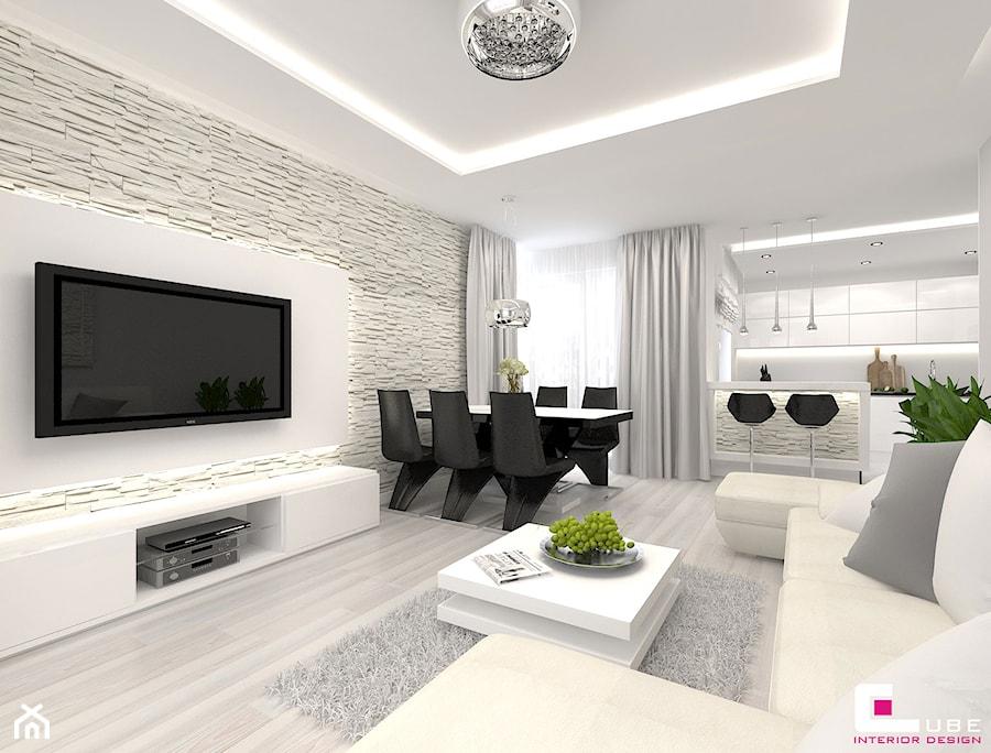 Projekt mieszkania w Siedlcach - Mały biały salon z kuchnią z jadalnią, styl nowoczesny - zdjęcie od CUBE Interior Design