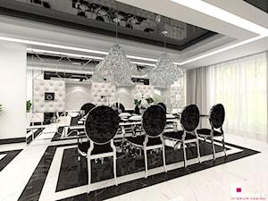 Dom w Chojnowie - Duża zamknięta biała jadalnia jako osobne pomieszczenie, styl art deco - zdjęcie od CUBE Interior Design