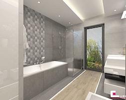 DOM W KOBYŁCE - Średnia łazienka w bloku w domu jednorodzinnym z oknem, styl nowoczesny - zdjęcie od CUBE Interior Design