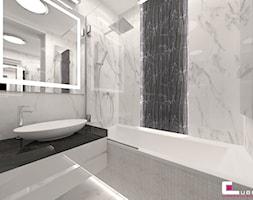 Mieszkanie pokazowe w Konstancinie-Jeziornie - Mała biała łazienka na poddaszu w bloku w domu jednorodzinnym bez okna, styl nowoczesny - zdjęcie od CUBE Interior Design