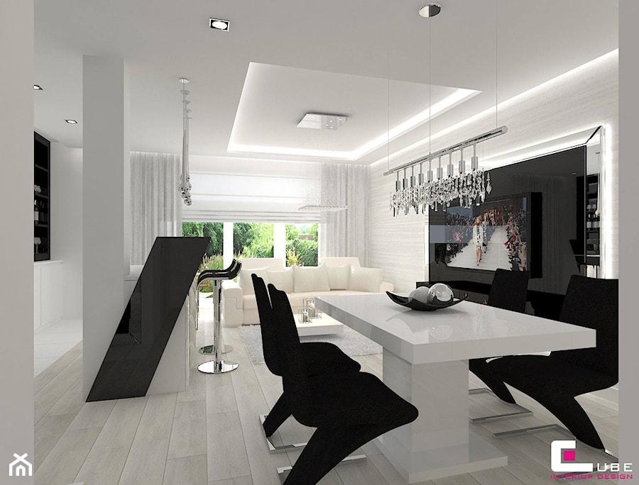 Dom w Markach - Średnia otwarta biała jadalnia w salonie, styl nowoczesny - zdjęcie od CUBE Interior Design