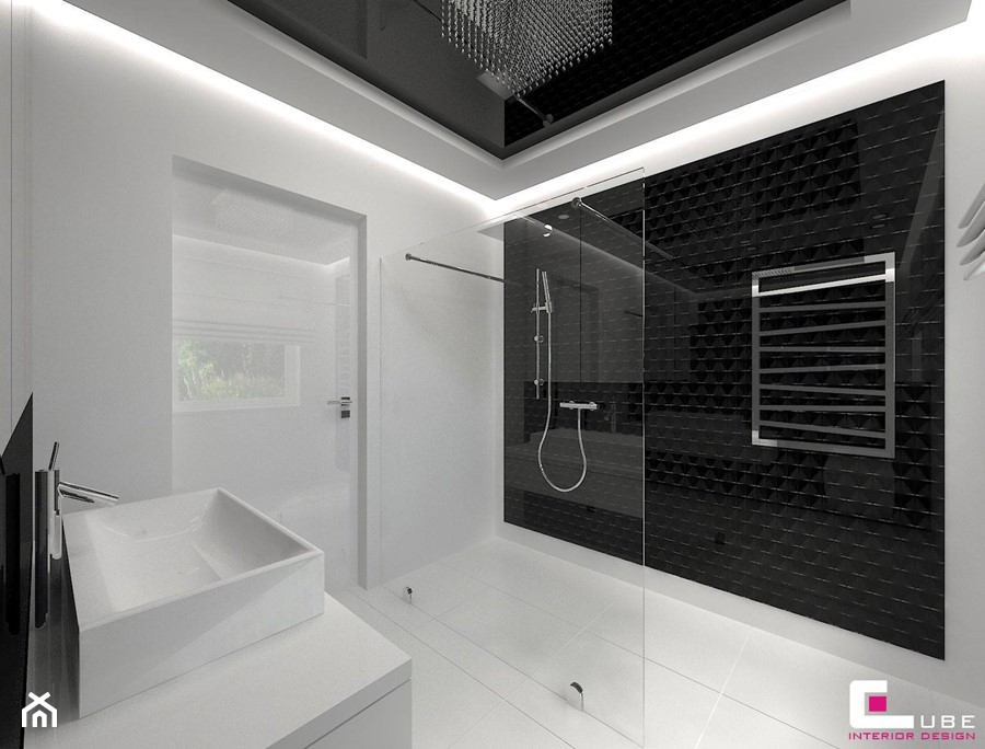 Dom w Markach - Średnia biała łazienka na poddaszu w bloku w domu jednorodzinnym bez okna, styl nowoczesny - zdjęcie od CUBE Interior Design
