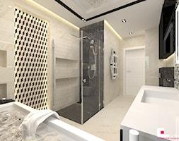 Projekt wnętrz domu - Średnia beżowa czarna łazienka na poddaszu w bloku w domu jednorodzinnym bez okna, styl nowoczesny - zdjęcie od CUBE Interior Design
