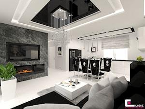 DOM POD LEGNICĄ - Średni biały salon z kuchnią z jadalnią, styl glamour - zdjęcie od CUBE Interior Design