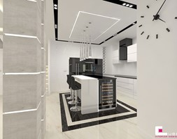 Projekt wnętrz domu - Duża otwarta biała kuchnia w kształcie litery l w aneksie, styl nowoczesny - zdjęcie od CUBE Interior Design