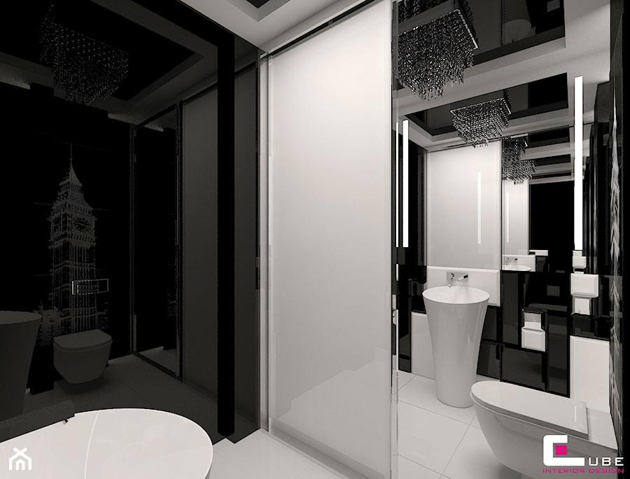 Mieszkanie w Trójmieście - Mała biała czarna łazienka na poddaszu w bloku w domu jednorodzinnym bez okna, styl glamour - zdjęcie od CUBE Interior Design