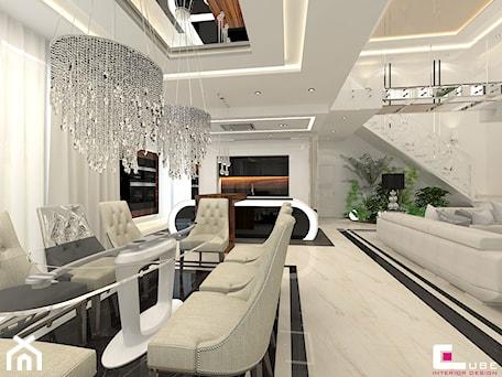 DOM Z ANTRESOLĄ - Duża otwarta biała jadalnia jako osobne pomieszczenie, styl art deco - zdjęcie od CUBE Interior Design