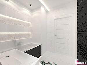 Mieszkanie 70 m2 w Warszawie - Średnia biała łazienka w bloku w domu jednorodzinnym bez okna, styl nowoczesny - zdjęcie od CUBE Interior Design