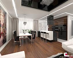 Mieszkanie w Warszawie - Duża otwarta biała jadalnia w salonie, styl glamour - zdjęcie od CUBE Interior Design