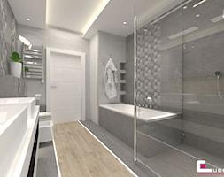 DOM W KOBYŁCE - Średnia szara łazienka na poddaszu w bloku w domu jednorodzinnym bez okna, styl nowoczesny - zdjęcie od CUBE Interior Design
