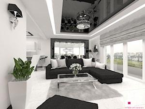 Dom w Elblągu - Mały biały salon z kuchnią z jadalnią, styl glamour - zdjęcie od CUBE Interior Design
