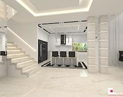 Projekt wnętrz domu - Duża otwarta szara kuchnia w kształcie litery u w aneksie z oknem, styl nowoczesny - zdjęcie od CUBE Interior Design