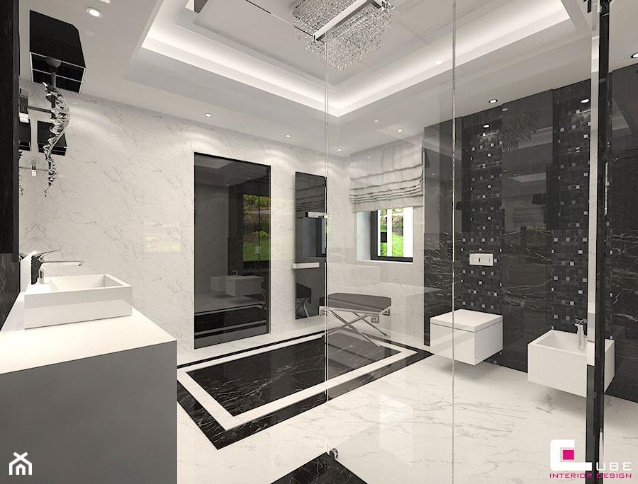 Dom w Chojnowie - Średnia czarna szara łazienka na poddaszu w bloku w domu jednorodzinnym z oknem, styl art deco - zdjęcie od CUBE Interior Design