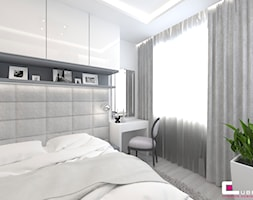Mieszkanie 70 m2 w Warszawie - Mała biała sypialnia małżeńska, styl nowoczesny - zdjęcie od CUBE Interior Design