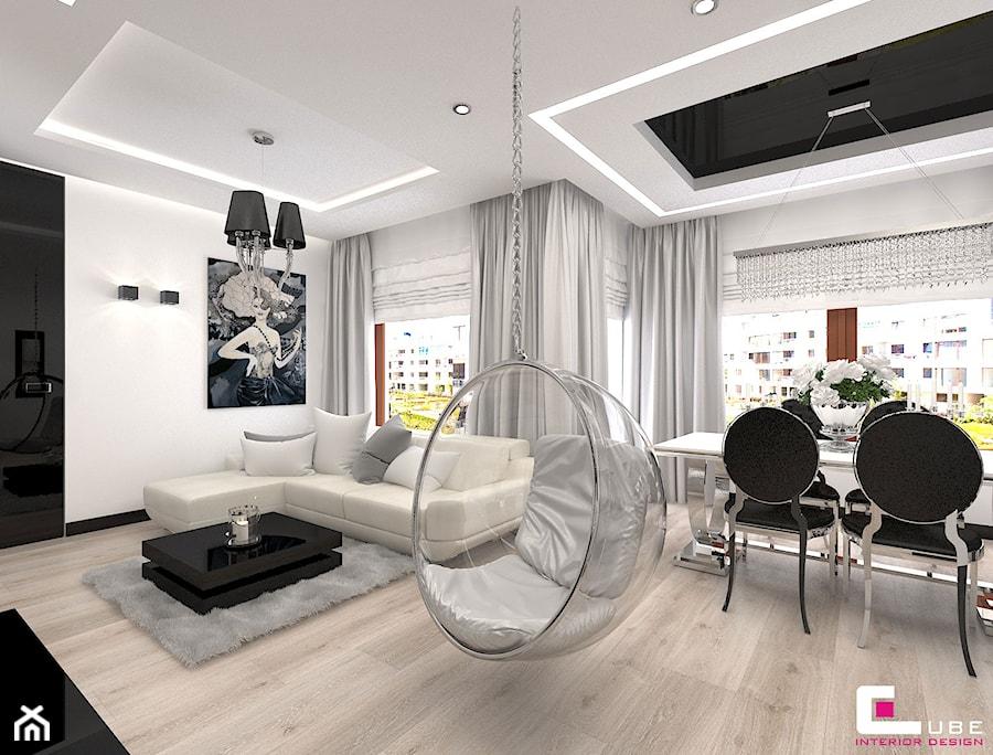 Mieszkanie w Trójmieście - Średni biały salon z jadalnią, styl glamour - zdjęcie od CUBE Interior Design