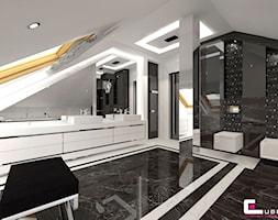 Dom w Chojnowie - Średnia czarna szara łazienka na poddaszu w domu jednorodzinnym z oknem, styl art deco - zdjęcie od CUBE Interior Design
