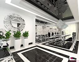 Projekt wnętrz domu w Chojnowie - Duża zamknięta biała jadalnia jako osobne pomieszczenie, styl glamour - zdjęcie od CUBE Interior Design
