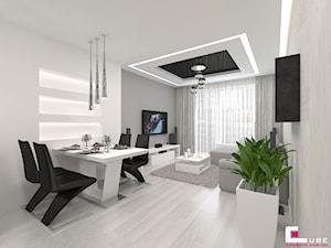 Mieszkanie 70 m2 w Warszawie - Średnia otwarta biała szara jadalnia w salonie, styl nowoczesny - zdjęcie od CUBE Interior Design