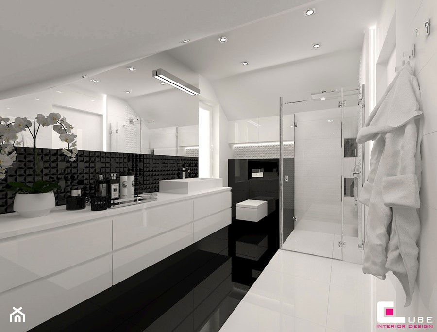 DOM POD LEGNICĄ - Średnia biała łazienka na poddaszu w domu jednorodzinnym bez okna, styl glamour - zdjęcie od CUBE Interior Design