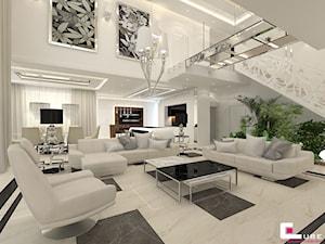 DOM Z ANTRESOLĄ - Duży biały salon z jadalnią, styl art deco - zdjęcie od CUBE Interior Design